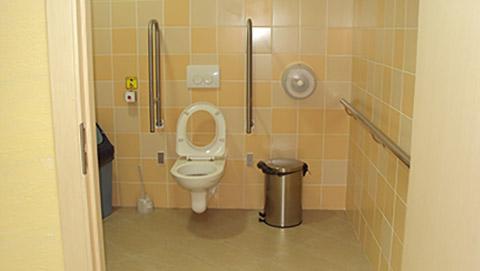 В санитарных комнатах предусмотрено пространство для размещения кресла-коляски.
